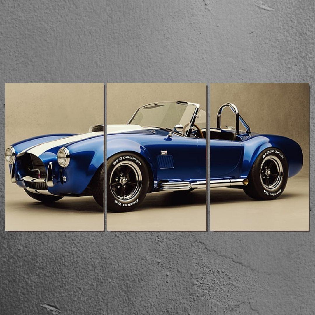 Quadro Decorativo - Shelby Cobra Azul- 3 Telas - 120x60cm