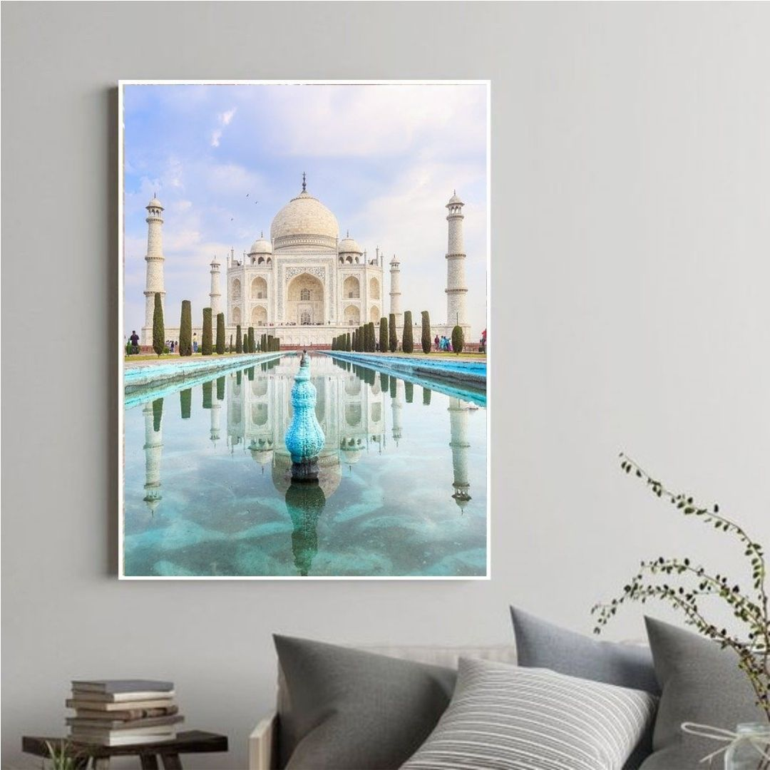 Quadro Decorativo Taj Mahal com Moldura Canaleta 110x70cm