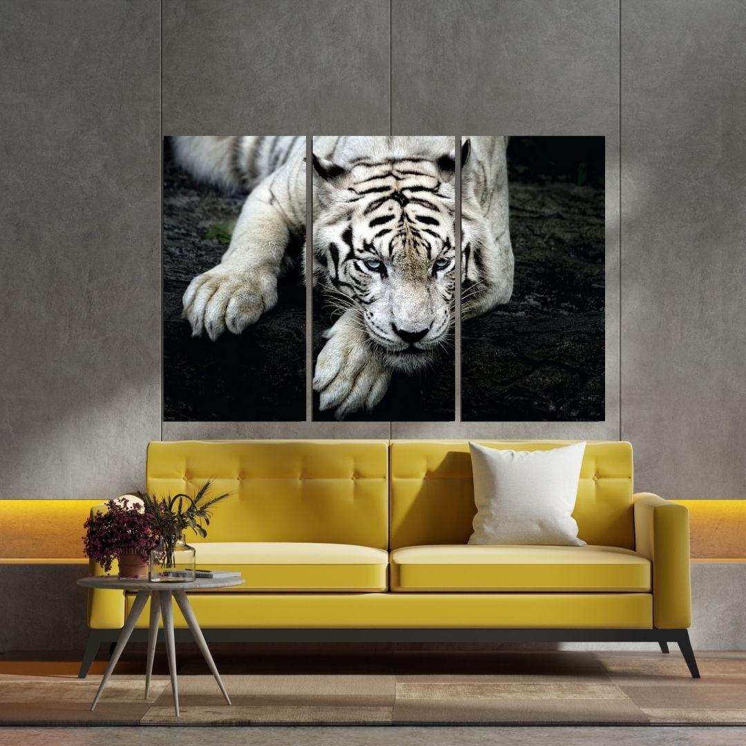Quadro Decorativo - Tigre Branco - 120x80cm