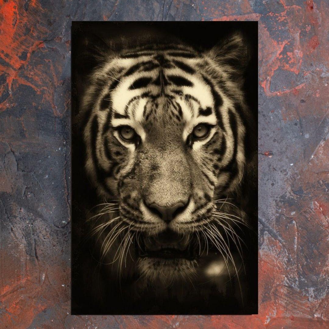 Quadro Decorativo Tigre Preto e Branco 110x70cm