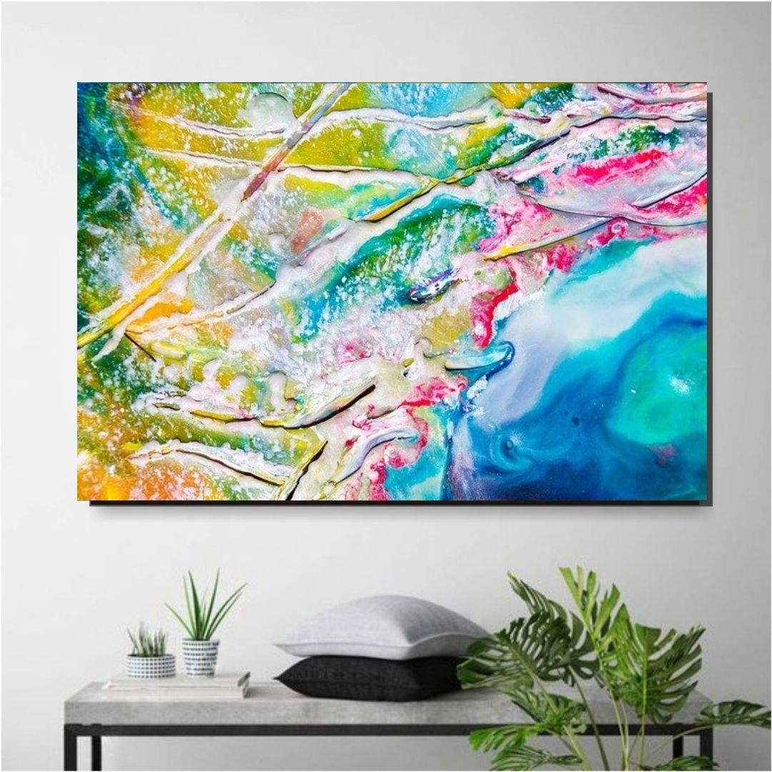 Quadro Decorativo Tintas Abstratas 110x70cm