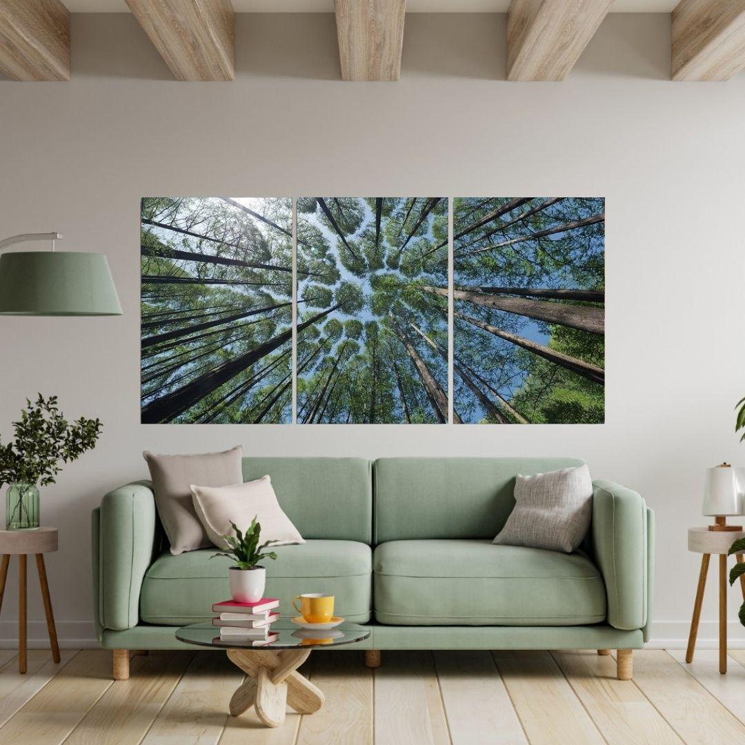 Quadro Decorativo - 3 Telas - Arvores - 120x60cm
