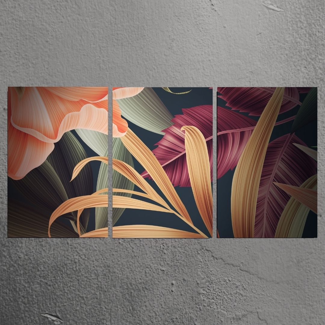 Quadro Decorativo Para Sala - 3 Telas - Folhagens Luxuosas - 120x60cm