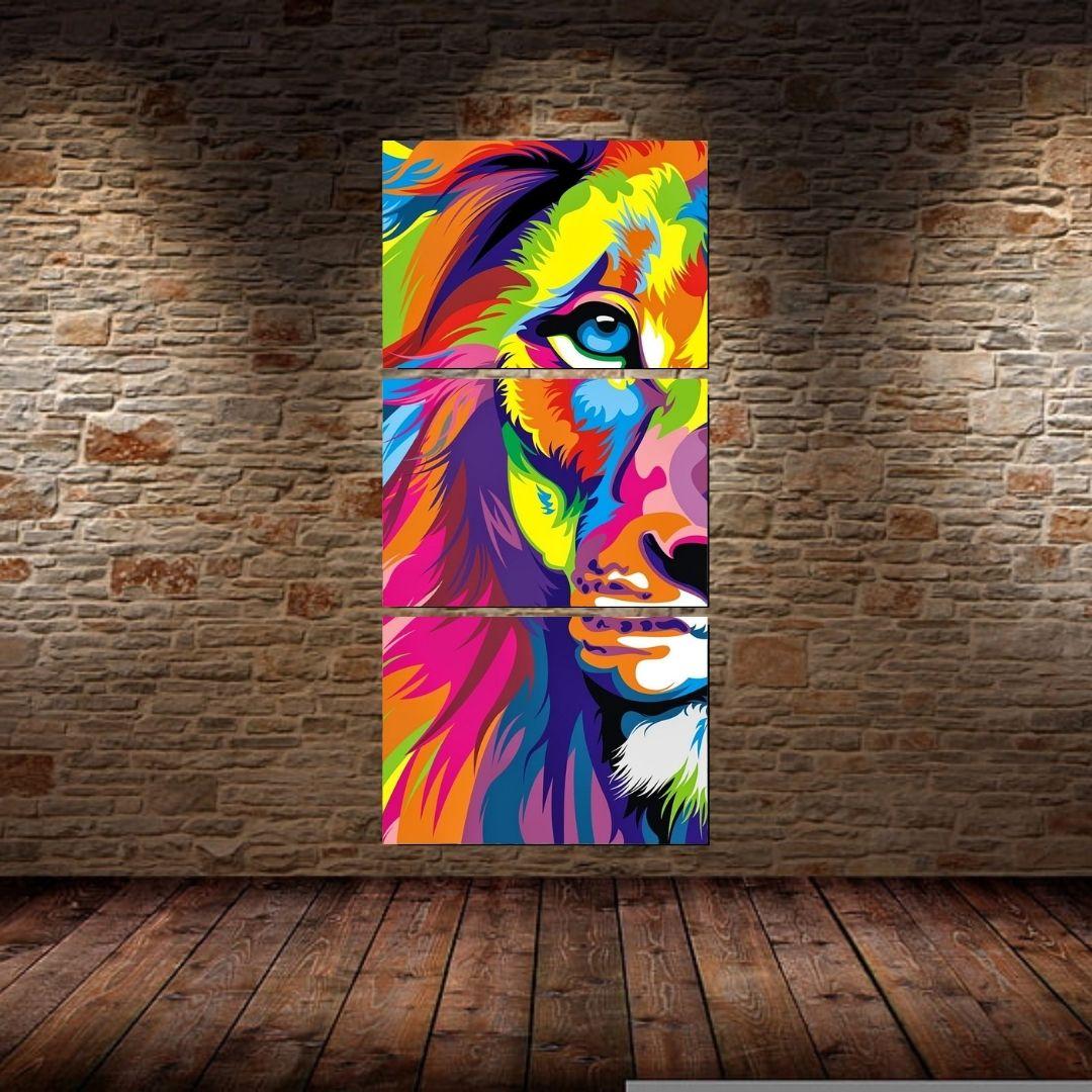 Quadro decorativo três telas Leão Moderno 210x100