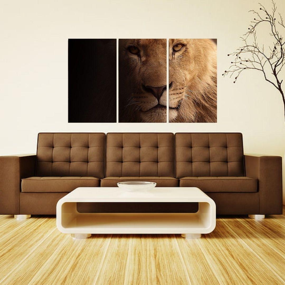 Quadro Decorativo Para Sala - 3 Telas - Leão nas Sombras - 120x70cm
