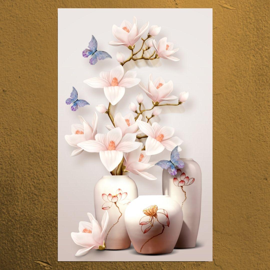 Quadro Para Sala - Vaso com Flores Delicadas - 90x55cm