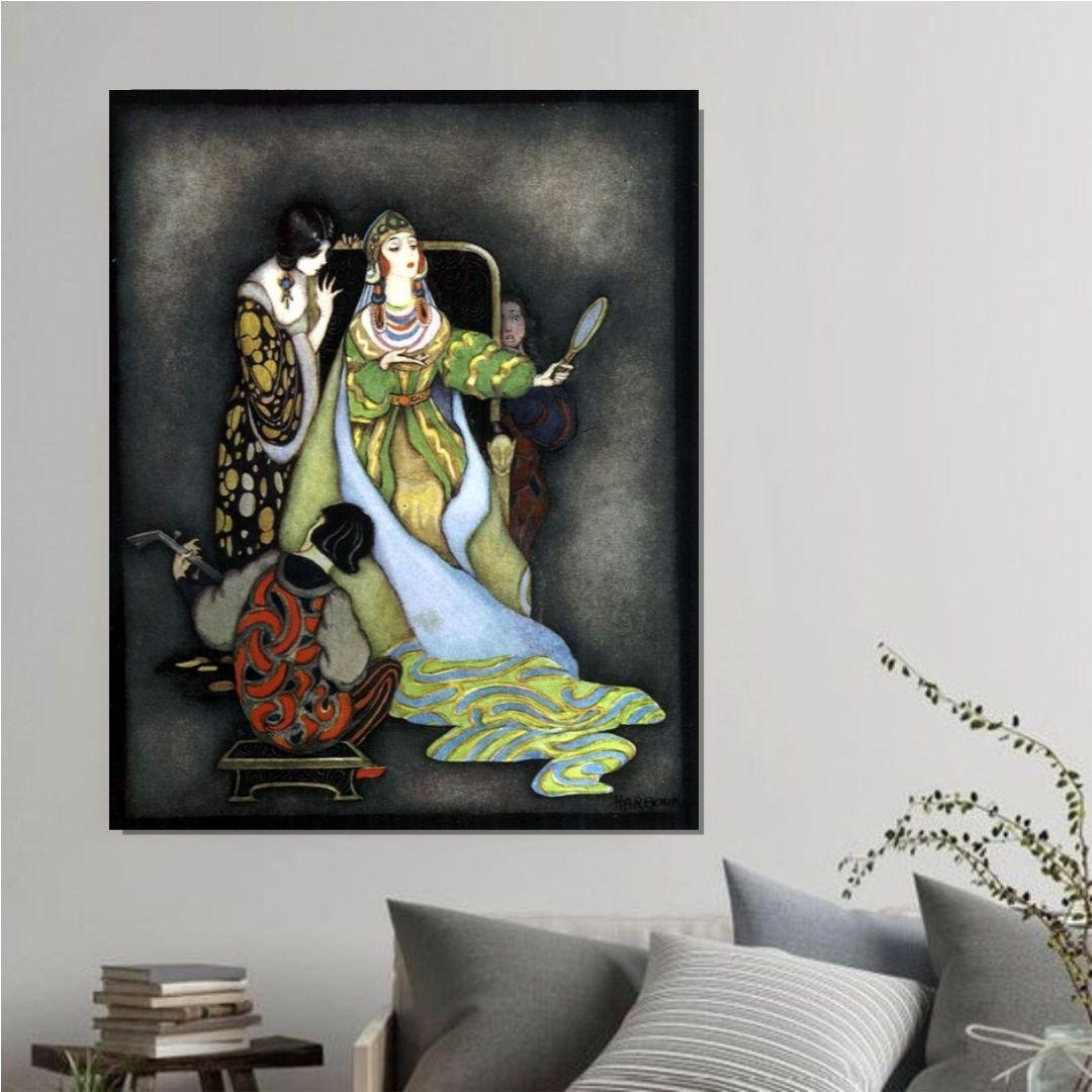 Quadro Decorativo Vintage Pintura Conto de Fadas 120x70cm