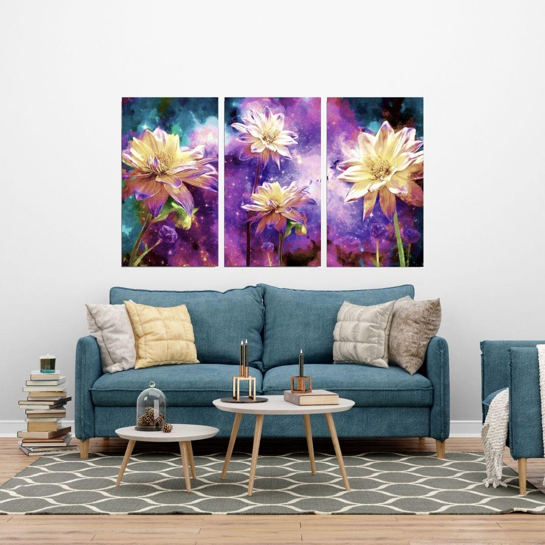 Quadro Para Sala - Flores Coloridas - Três Telas - 70x40cm.