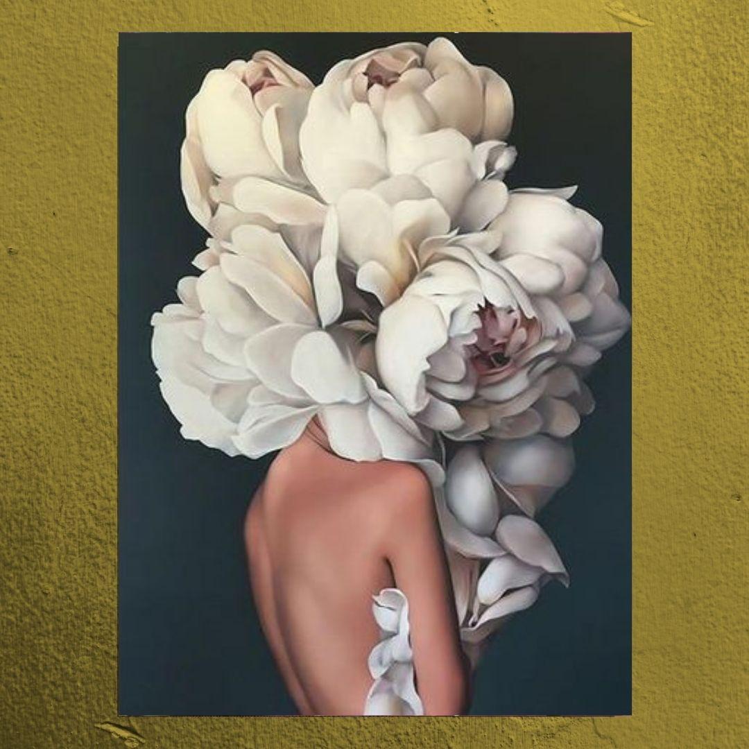 Quadro Decorativo - Mulher com Flor na Cabeça - 80x60cm.