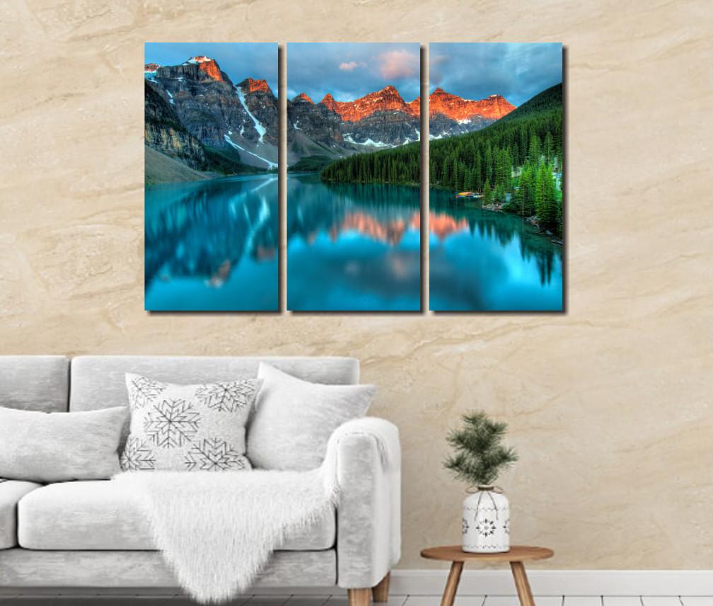 Quadro Decorativo Para Sala - Paisagem com Montanhas- Três Telas - 120x80