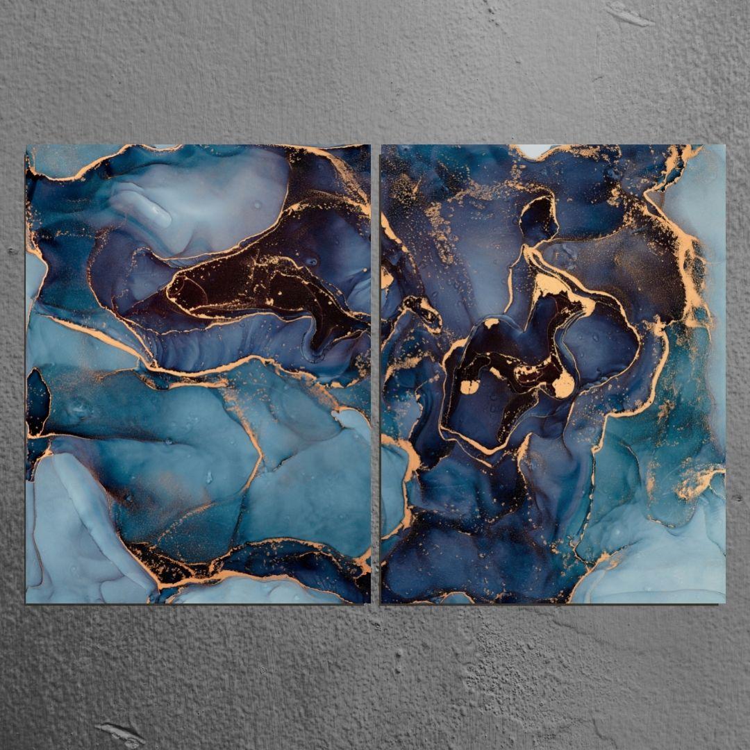 Quadro Para Sala - 2 Telas - Abstrato Marmorizado Azul - 120x80cm