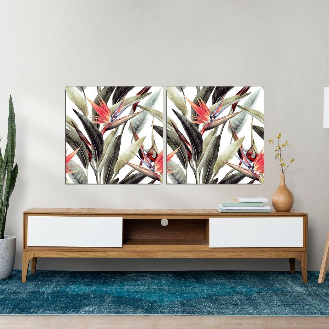 Quadro Para Sala - 2 Telas - Folhas Tropicais - 140x70cm