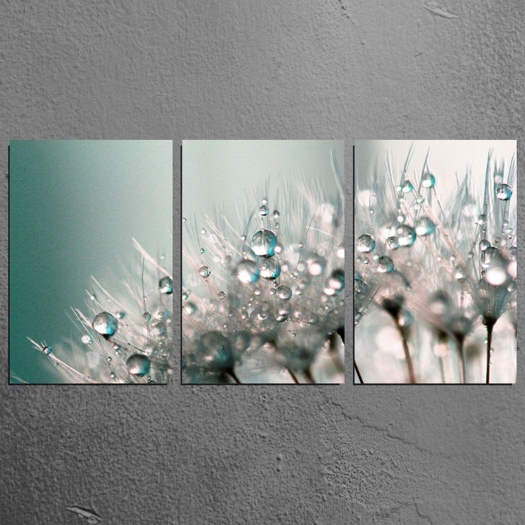 Quadro Decorativo Para Sala - 3 Telas Dente de Leão - 120x60cm