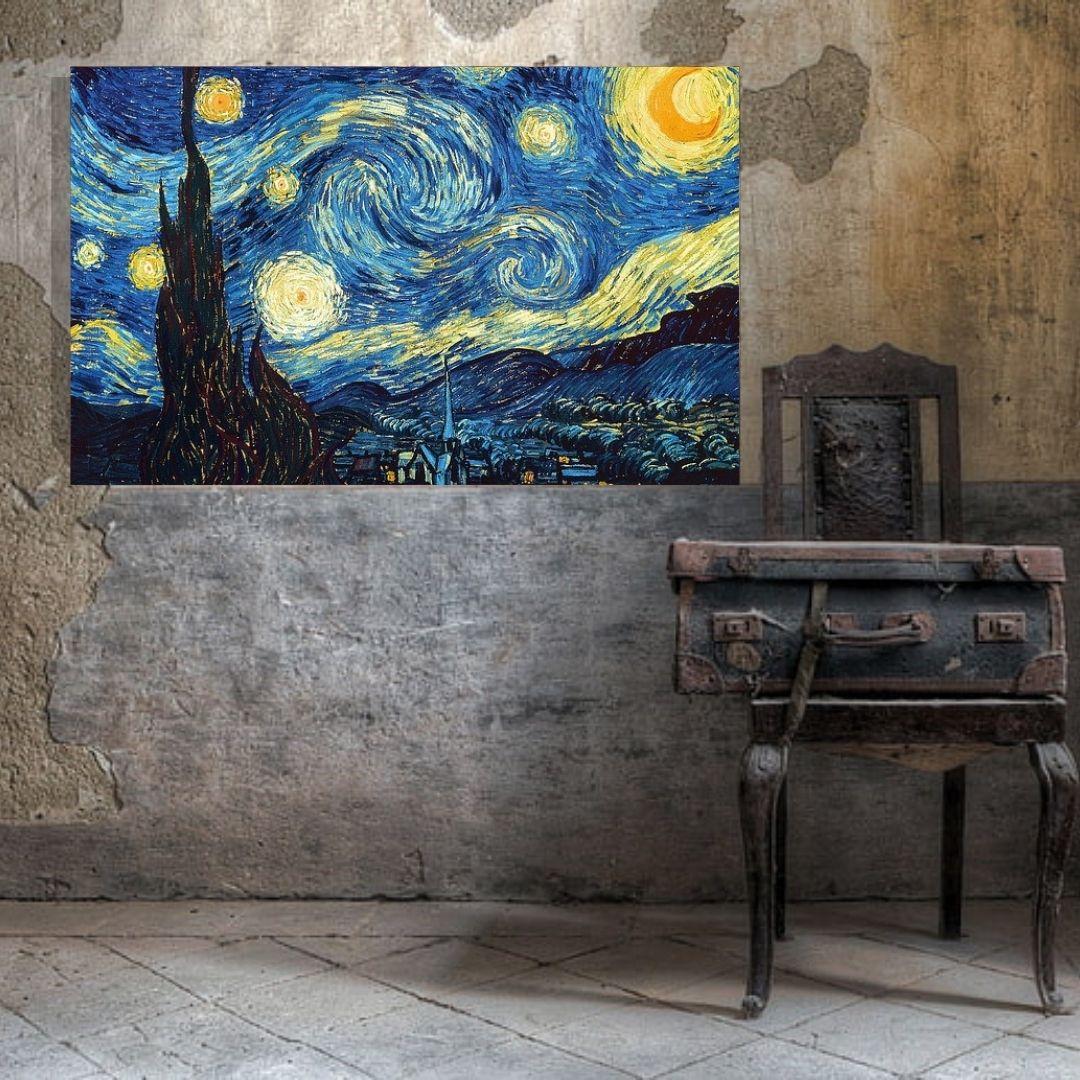 Quadro Decorativo - A Noite Estrelada - Vicent Van Gogh - 110x70cm