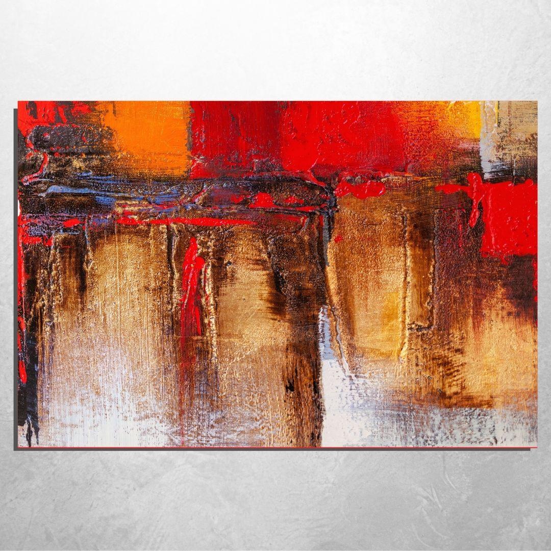 Quadro Decorativo Para Sala - Abstrato Vermelho - 110x70cm