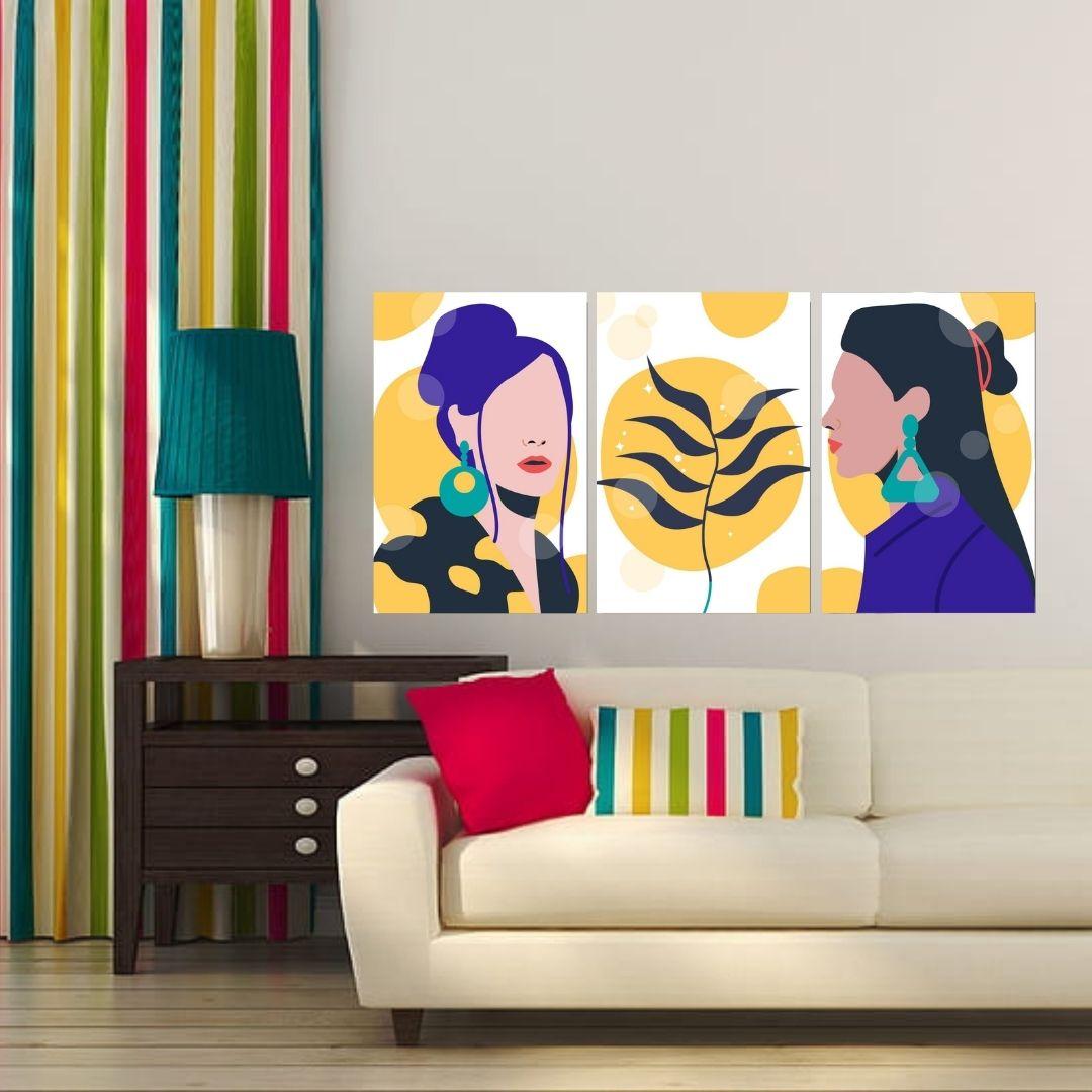 Quadro Para Sala - Abstrato em Tons Amarelos  -Arte Moderna - 120x60cm