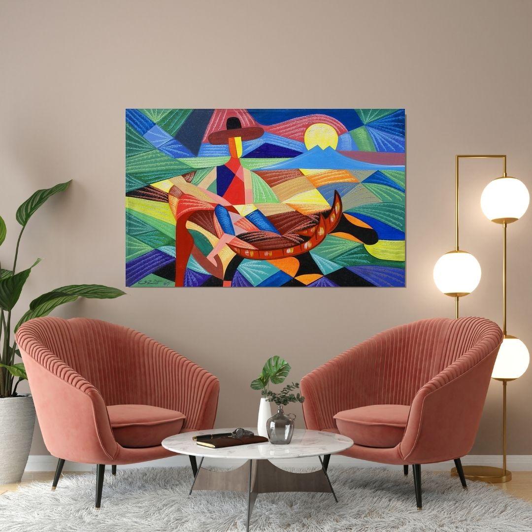 Quadro Para Sala - Abstrato - O Pescador -110x70cm