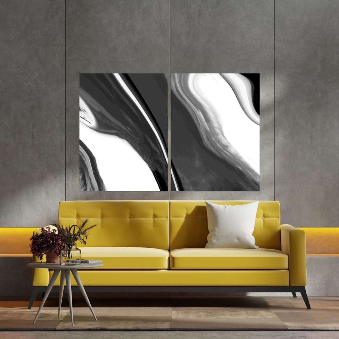 Quadro Para Sala - Abstrato Preto e Branco - 2 Telas - 120x80cm.