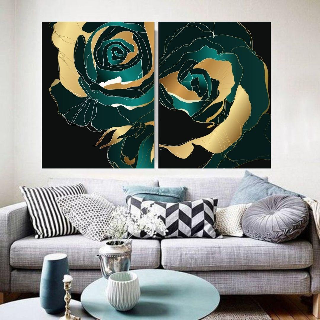 Quadro Decorativo - Para Sala - Abstrato Rosas Estilizadas - 2 Telas - 80x65cm