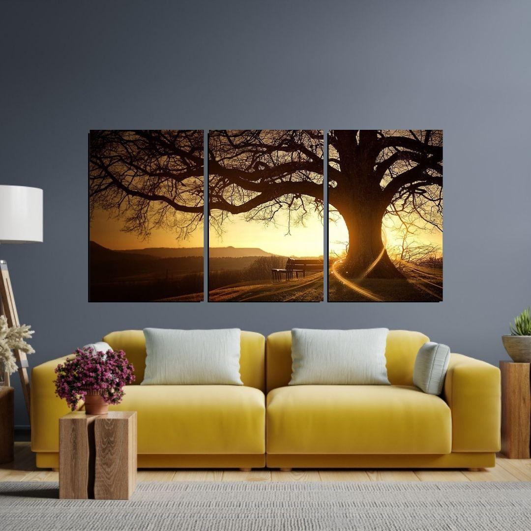 Quadro Para Sala - Arvore e Por do Sol - 120x60