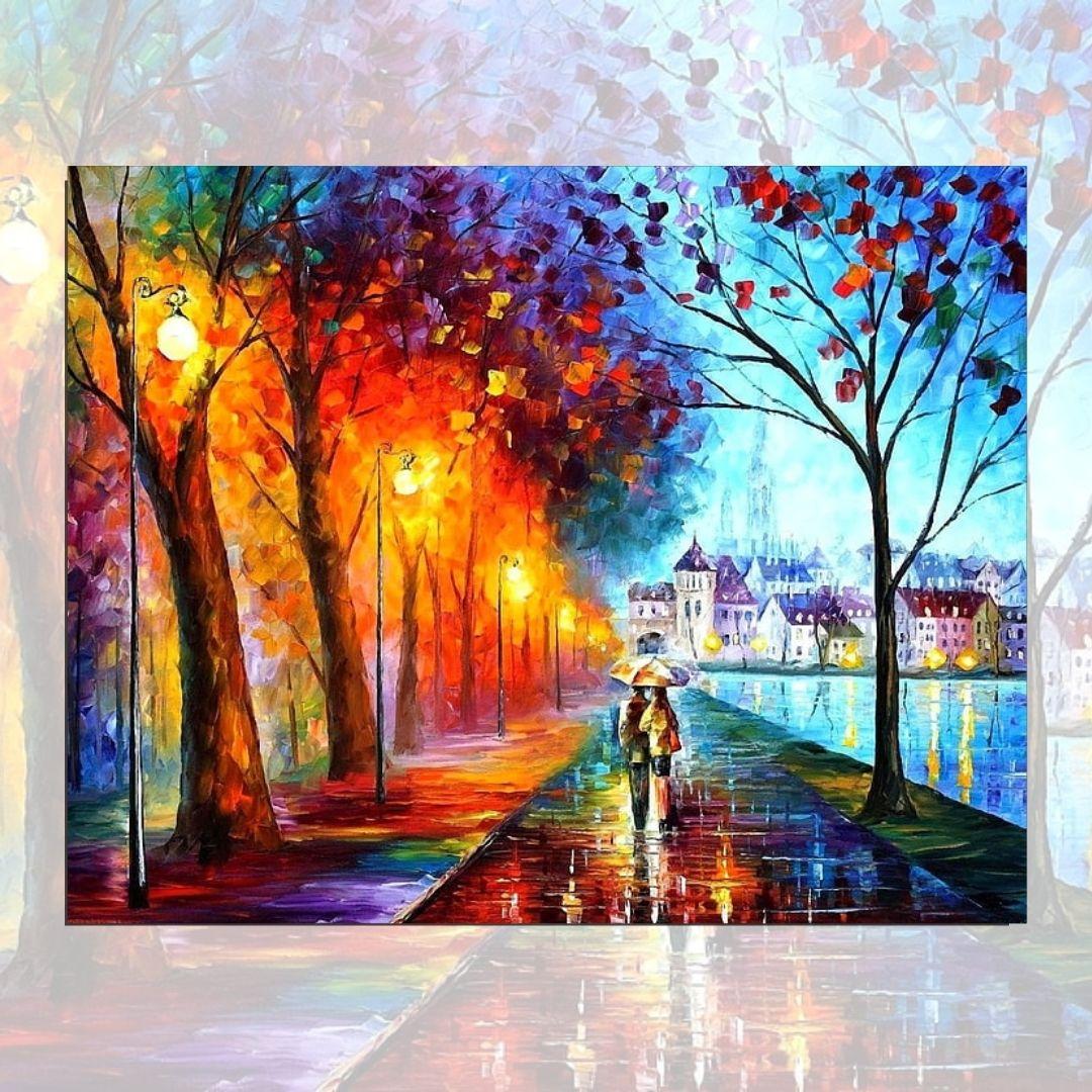 Quadro para Sala - Casal na Praça -  Abstrato Espatulado - 95x75