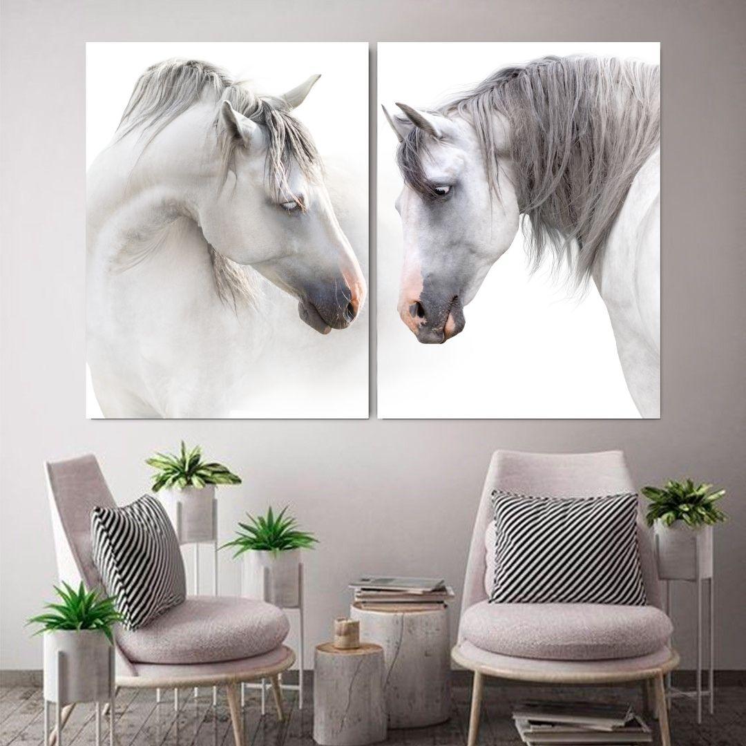 Quadro para Sala - Cavalos Brancos - 100x75cm