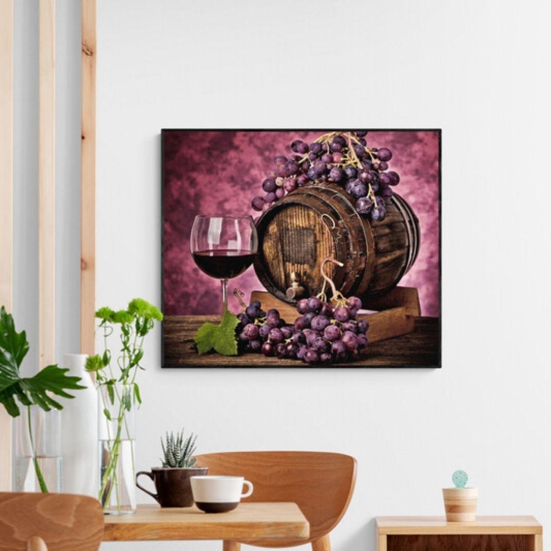 Quadro para Sala de Jantar - Barril e Taça de Vinho - Com Moldura - 90x75cm
