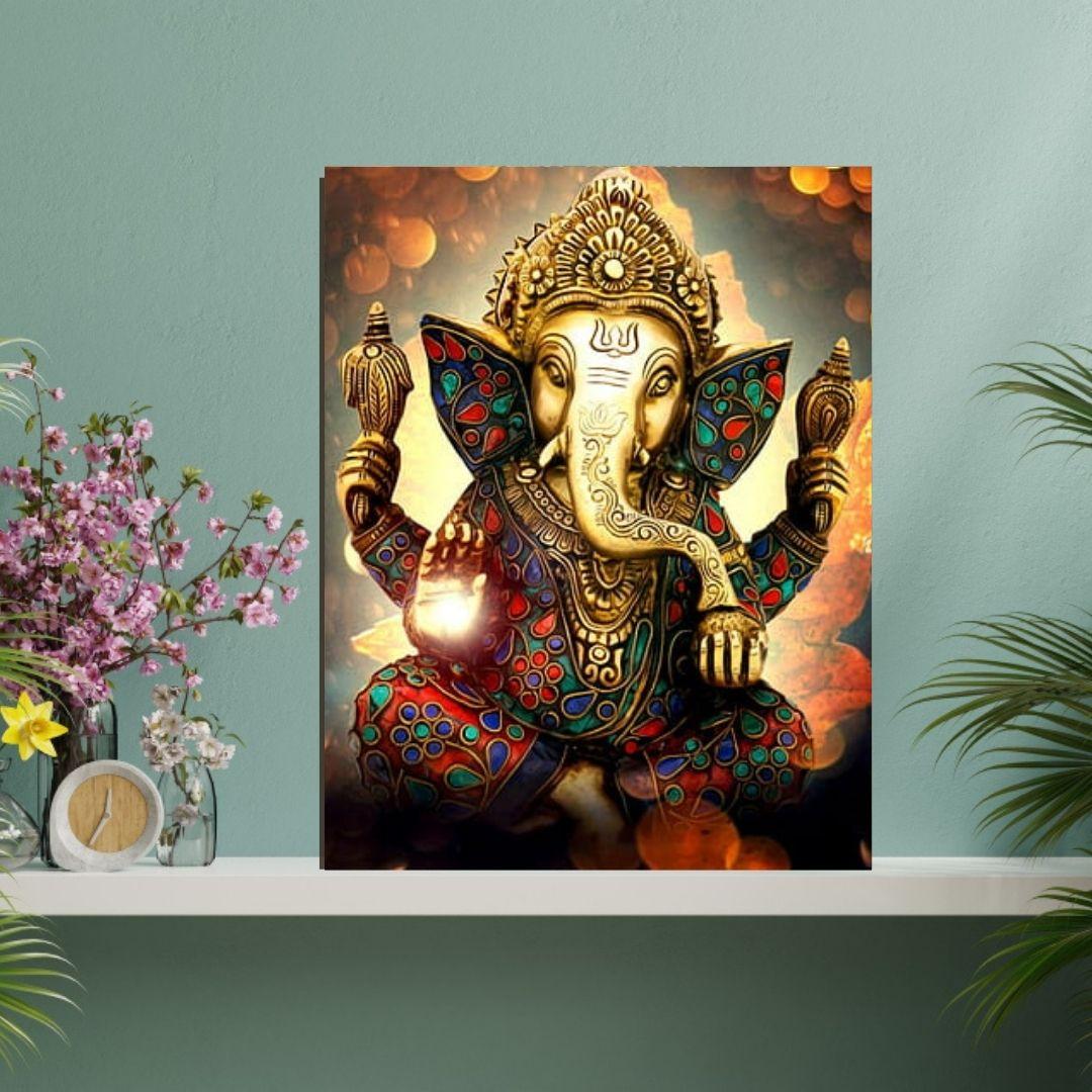 Quadro Decorativo Para Sala - Deus Ganesha - 90x70cm