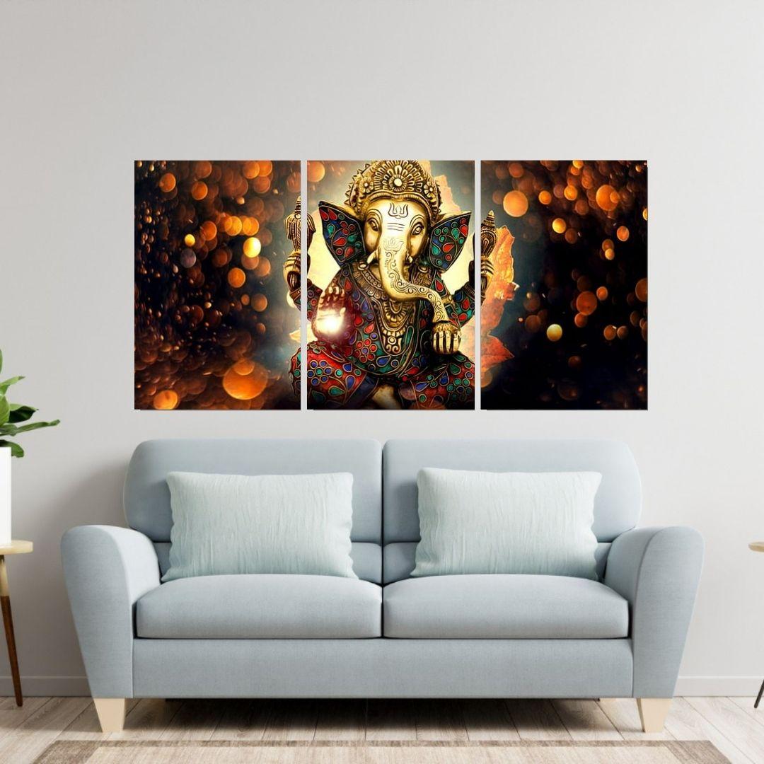 Quadro Para Sala - Deus Ganesha - 3 Telas - 120x60cm