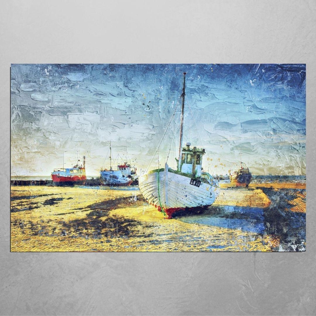 Quadro Para Sala - Estilo Pintura - Barco Atracado - 110x70cm