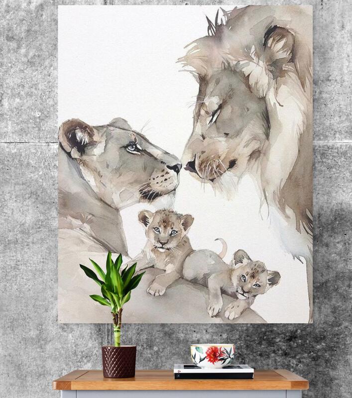 Quadro Decorativo  - Família de Leões Aquarela - 110x90cm