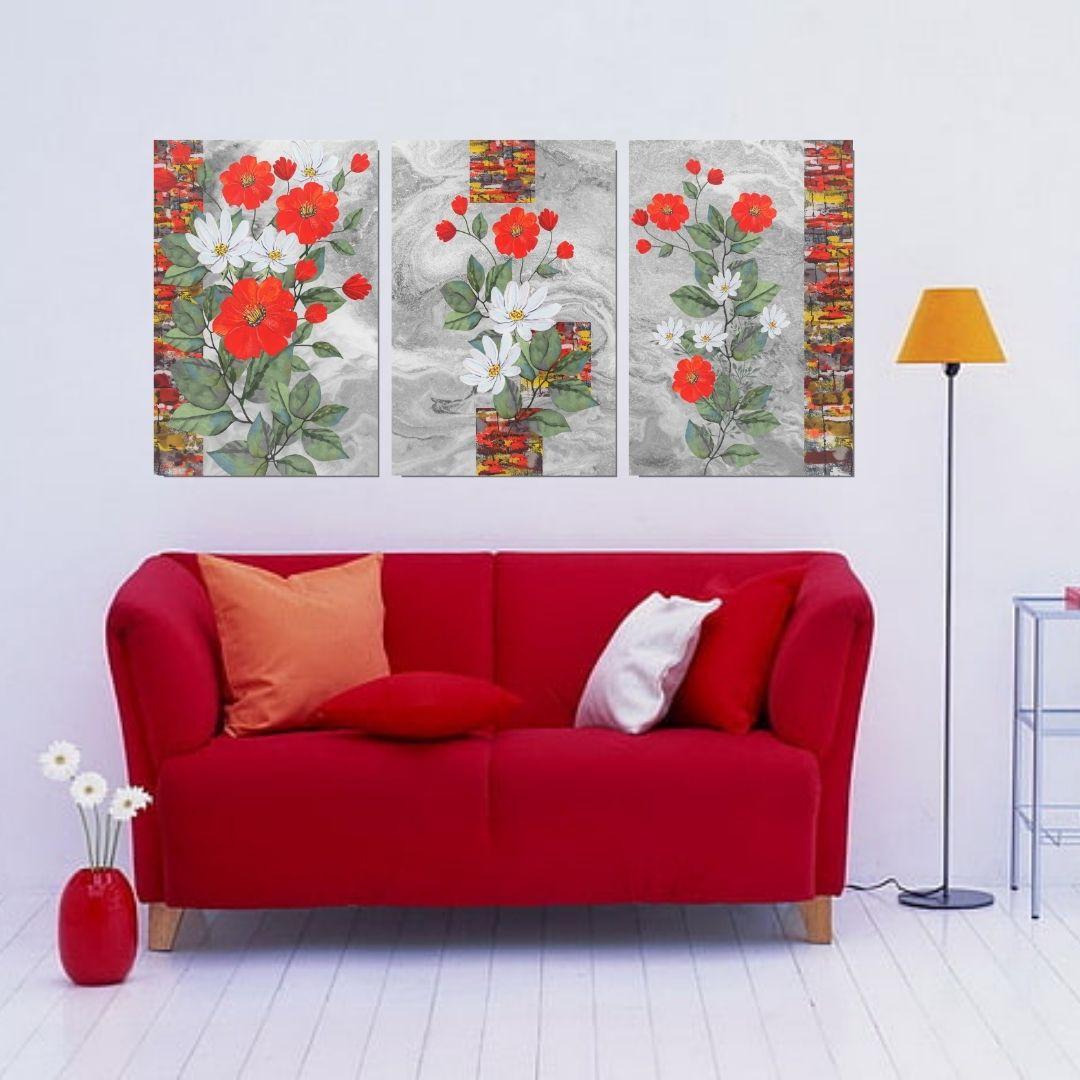 Quadro Para Sala - Flores Coloridas - 120x60cm