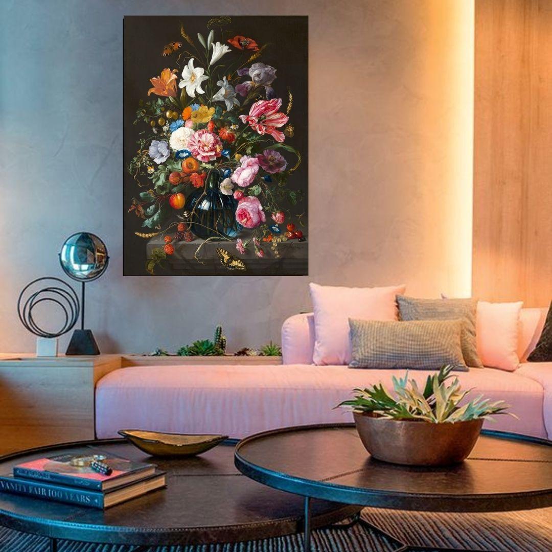 Quadro Decorativo Para Sala - Flores Retrô - 100x65cm