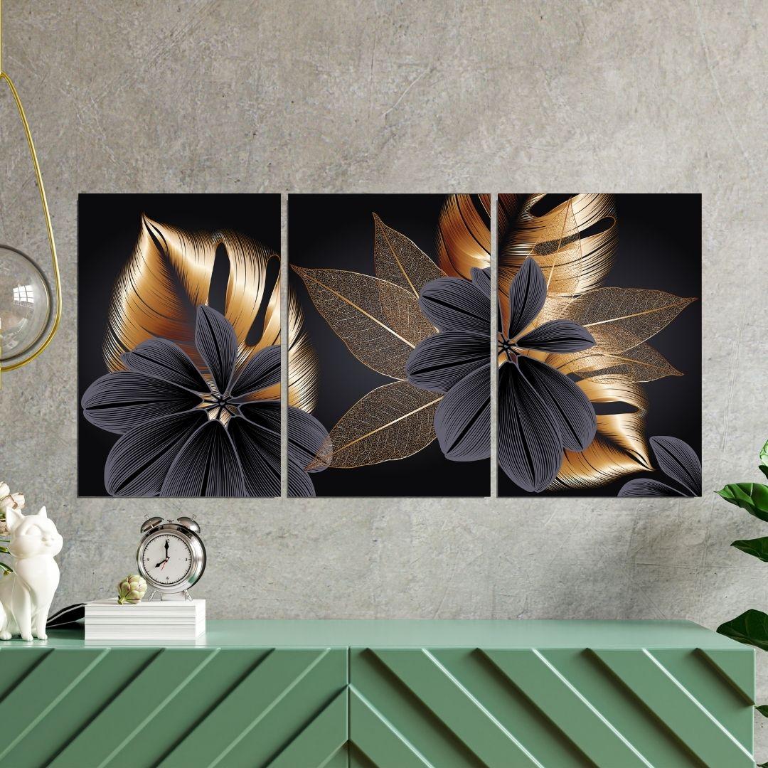 Quadro para Sala - Folhagem Preta e Dourada - 120x60cm