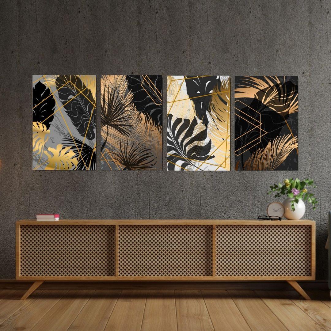 Quadros Para Sala - Folhagens Abstratas Modernas - 80x60cm