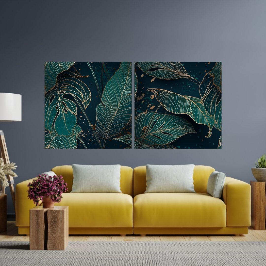 Quadro Para Sala - Folhas Tropicais - Duas Telas - 120x60cm