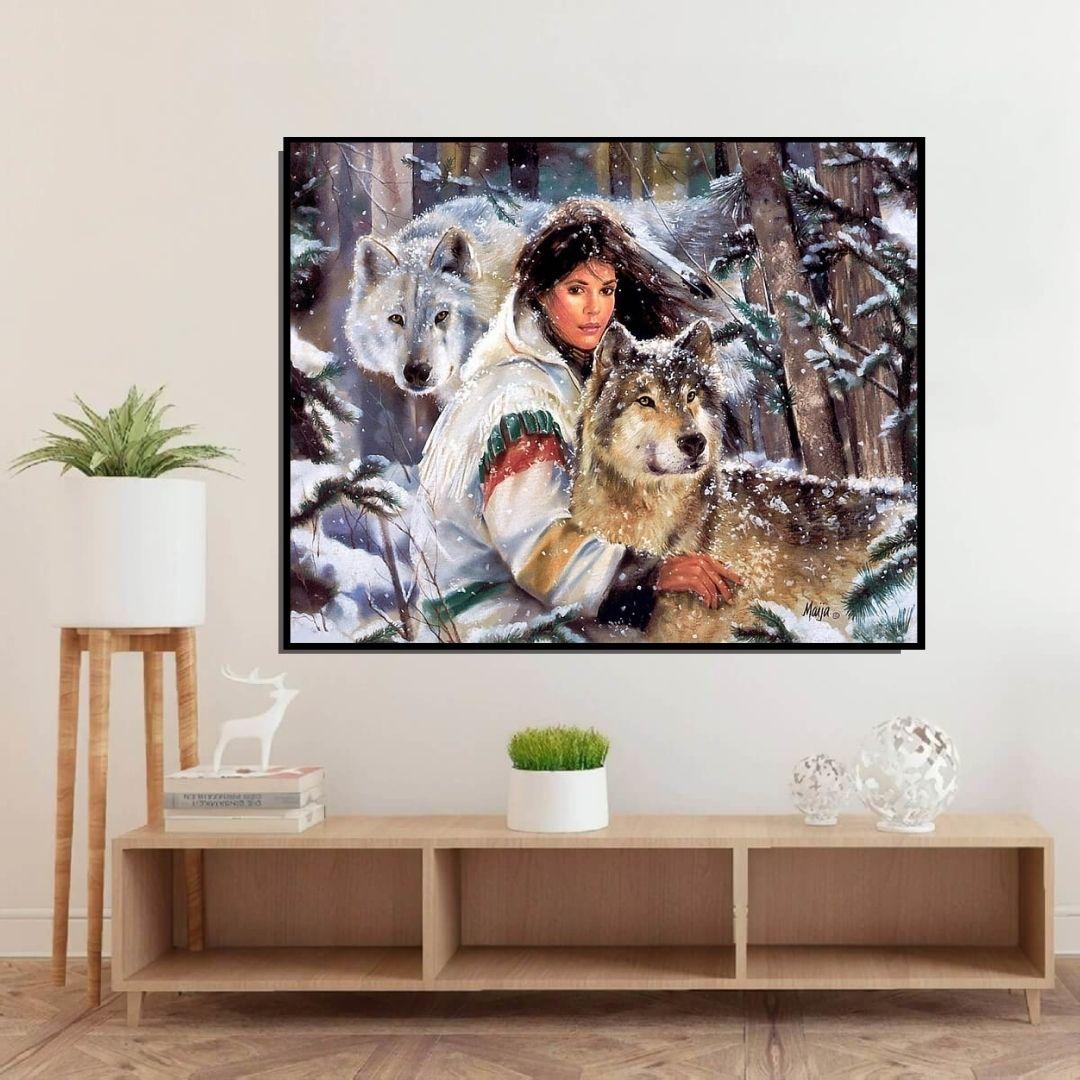 Quadro Para Sala - India Nativa com Lobos - 100x80cm