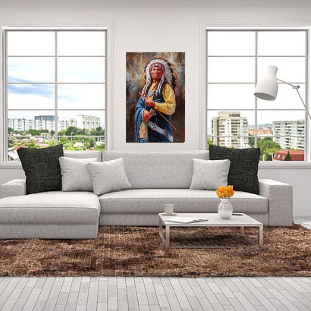 Quadro Para Sala - Indio Nativo Americano - 110x75cm