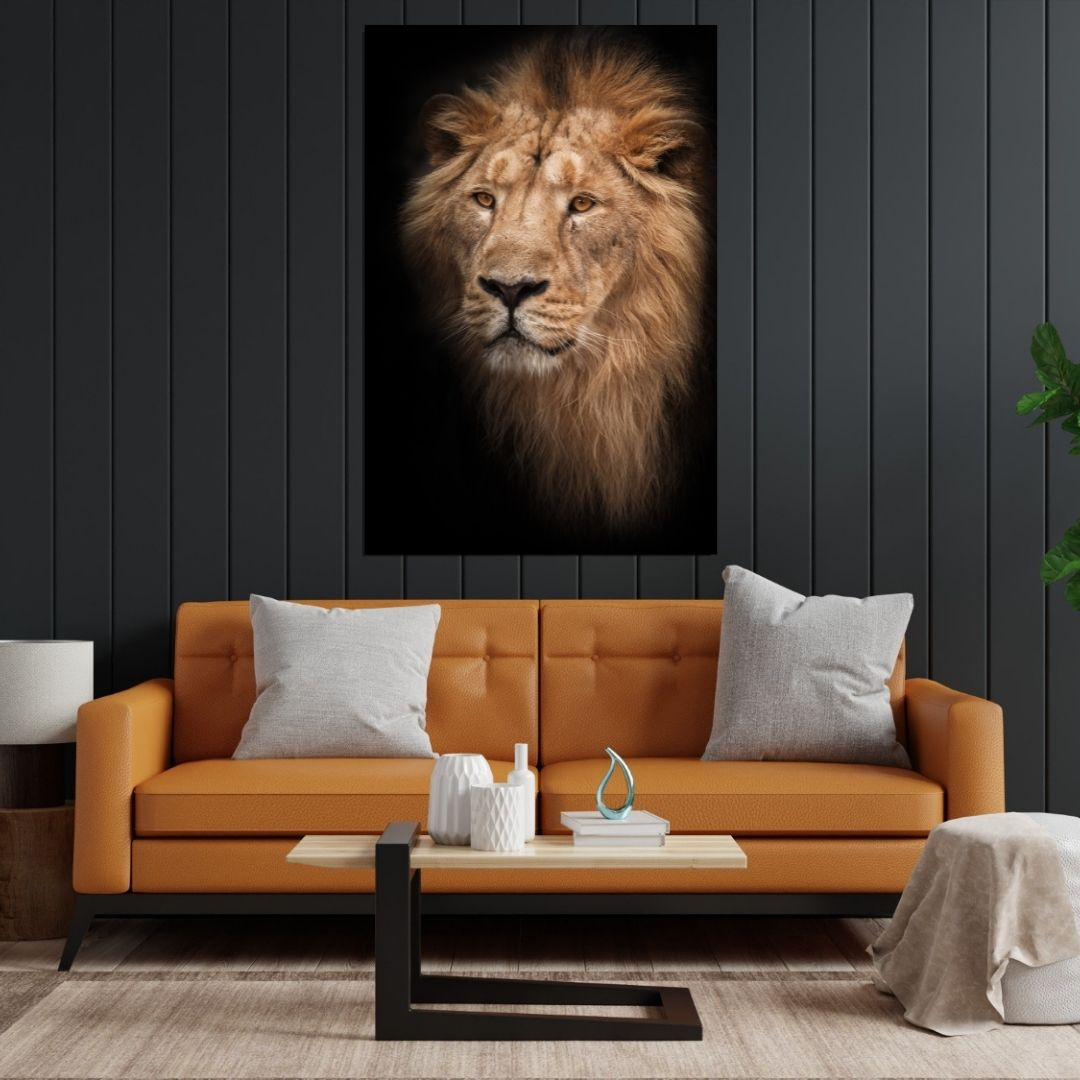 Quadro Decorativo Para Sala - Leão - 110x70cm