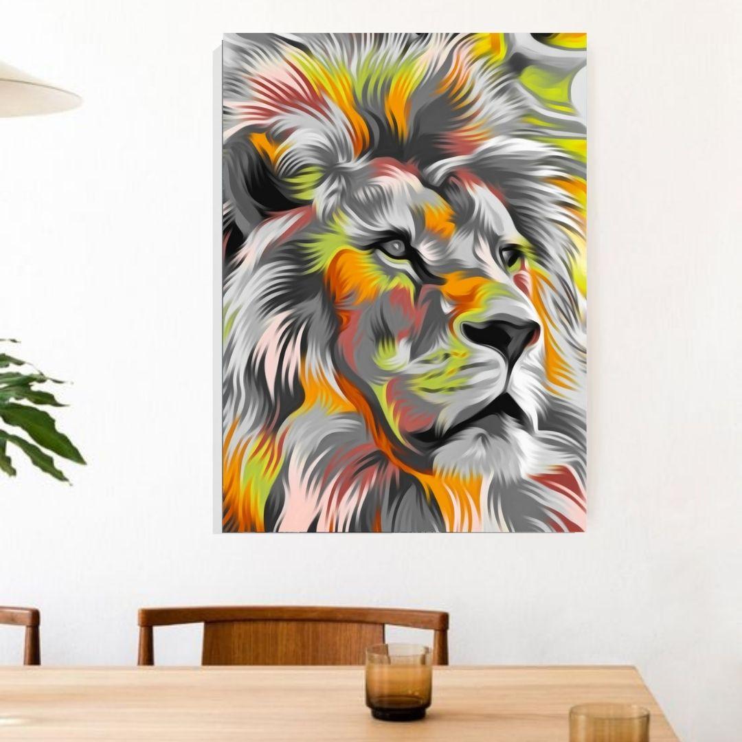 Quadro Para Sala - Leão Abstrato Moderno - 100x70cm