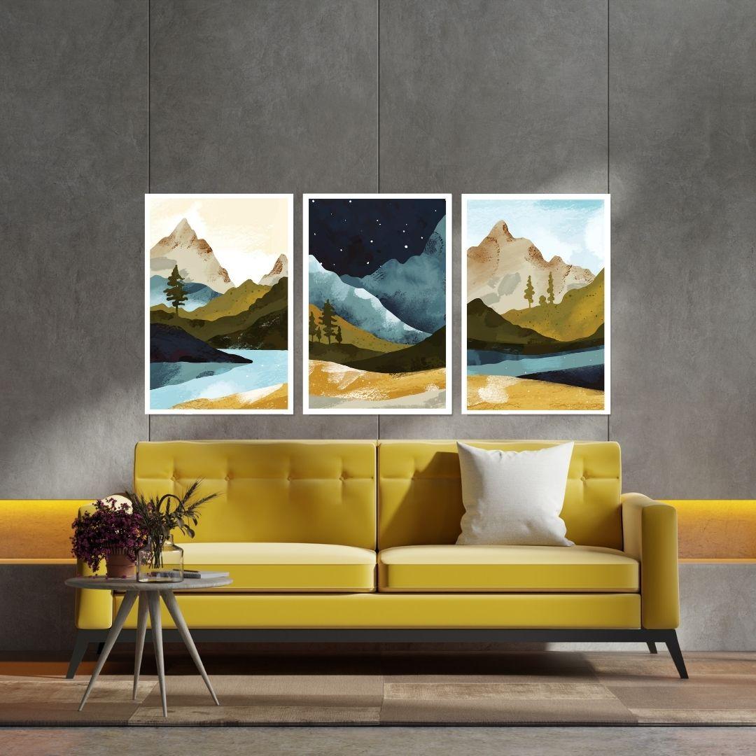 Quadro Para Sala - Montanhas - Arte Moderna - 120x70cm