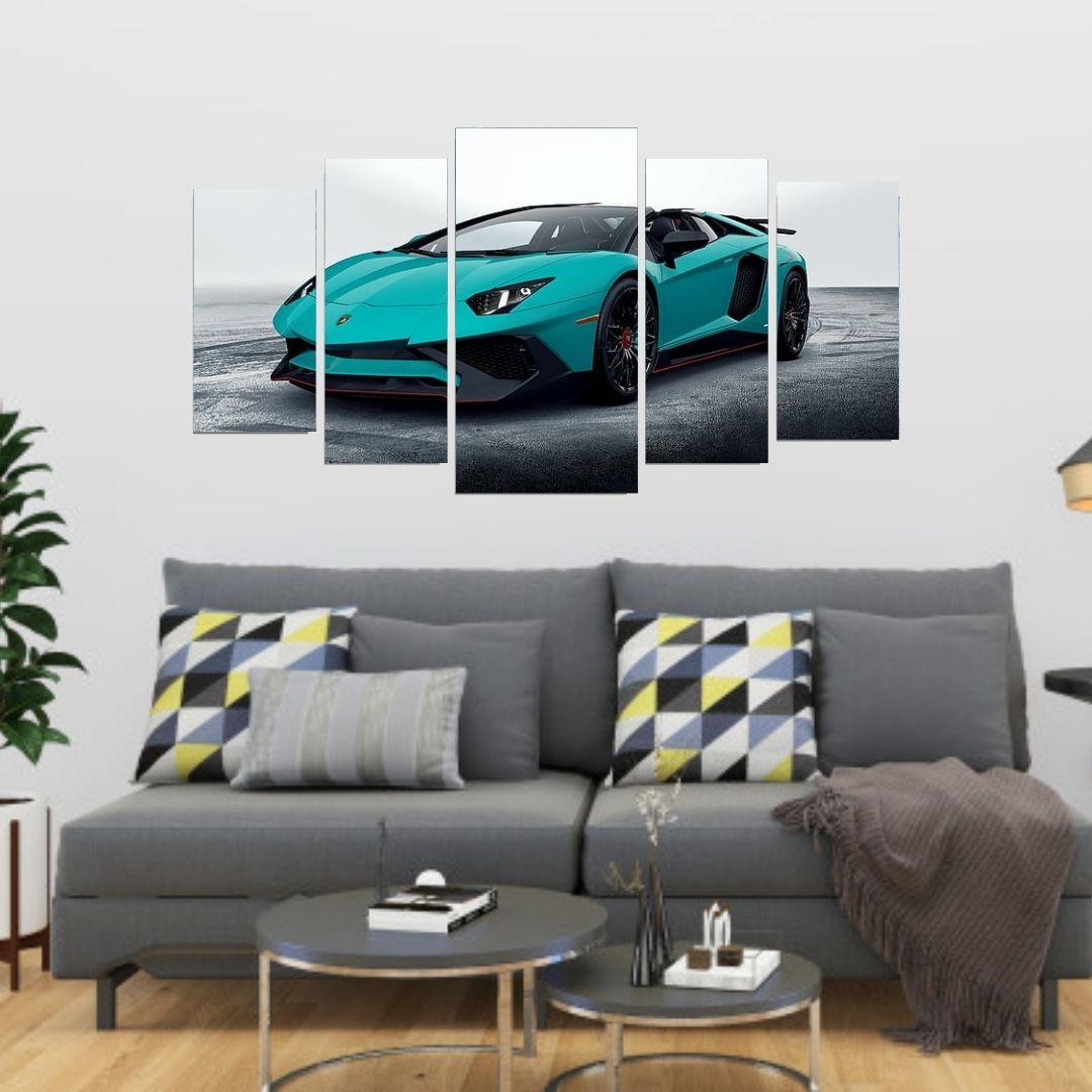 Quadro Mosaico 5 Telas Lamborghini Aventador 110x60cm.