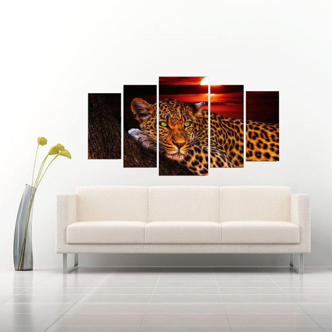 Quadro Decorativo  Para Sala - Mosaico 5 Telas - Onça Sob o Por do Sol  -110x60 cm