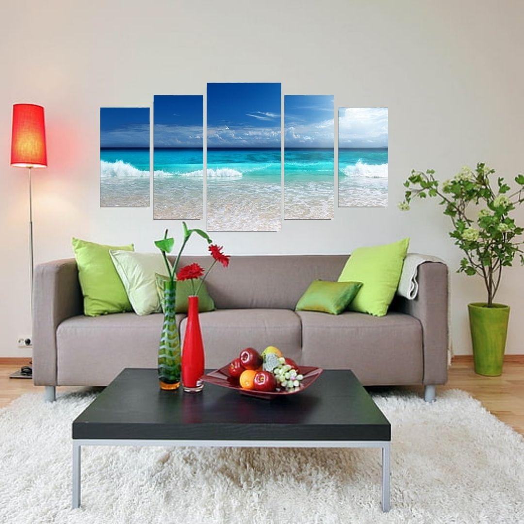 Quadro Decorativo Mosaico 5 Telas Praia 110x60cm