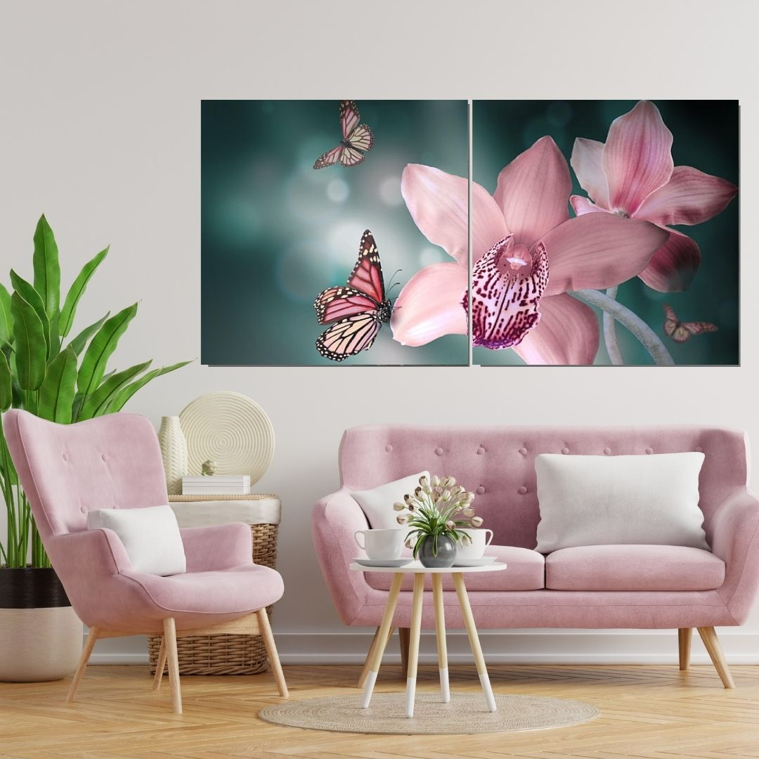 Quadro Para Sala - Orquídea com Borboletas - 2 Telas - 140x55cm
