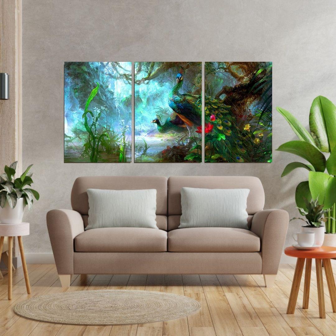 Quadro Para Sala - Pavão Colorido - 3 Telas - 120x60cm.