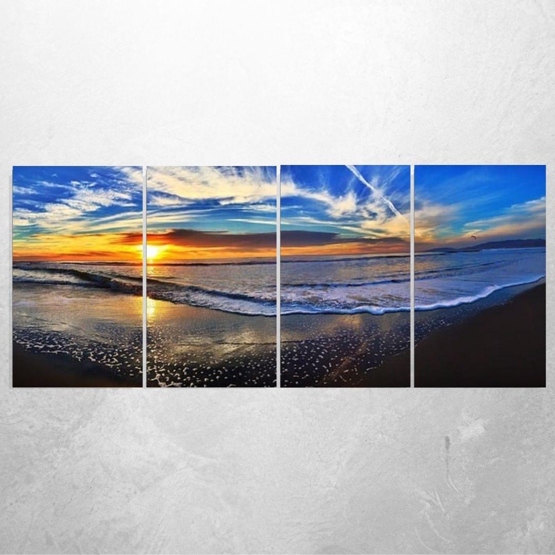 Quadro Para Sala -Por do Sol a Beira Mar - Quatro Telas - 140x70cm.