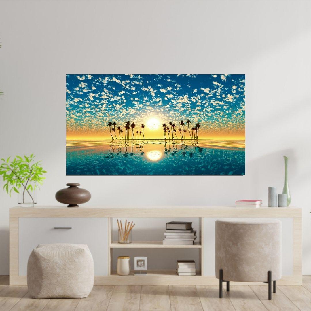 Quadro Para Sala - Praia - Mar Azul e Coqueiros - 110x60cm