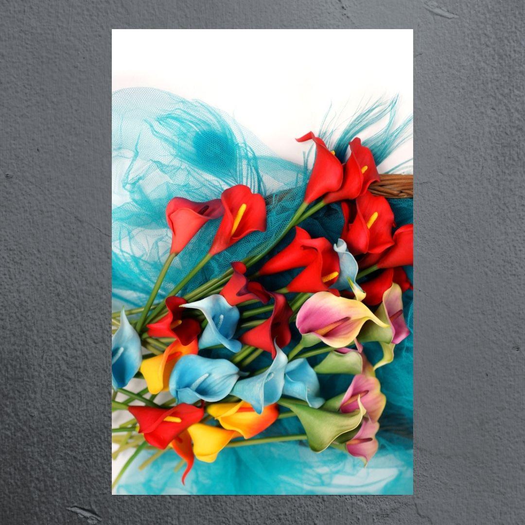 Quadro Decorativo - Ramalhete de Flores Coloridas - 80x55cm