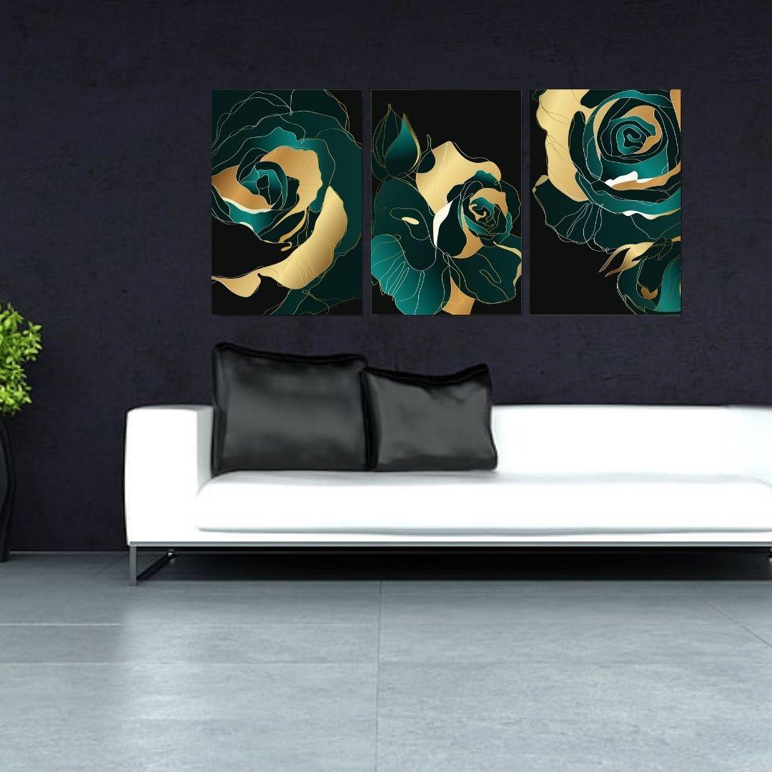 Quadro para Sala - Rosas Estilizadas - 120x60cm